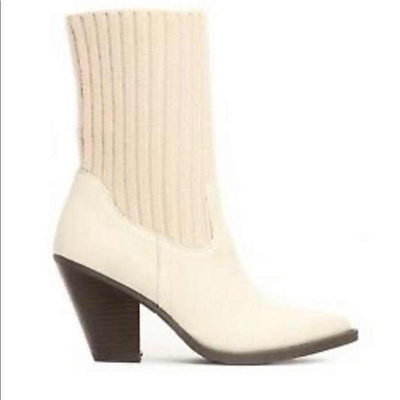Fashion nova Mid Calf faux leather sock boots 10